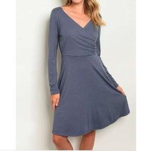Gilli Blue Faux Wrap Dress